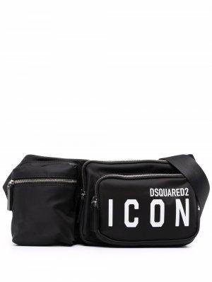 Поясная сумка с логотипом Icon Dsquared2. Цвет: черный