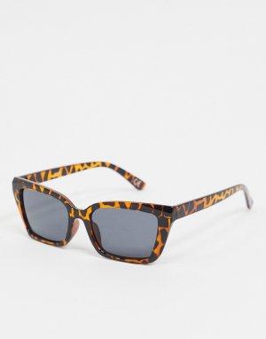 Солнцезащитные очки в черепаховой квадратной оправе с дымчатыми стеклами -Коричневый ASOS DESIGN