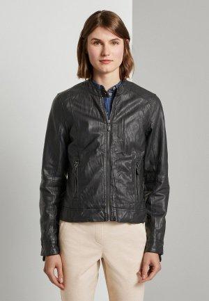 Куртка кожаная Tom Tailor. Цвет: черный