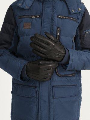 Кожаные перчатки Alessandro Manzoni Yachting. Цвет: chernyy