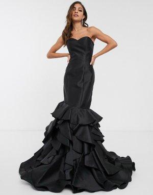 Платье с открытыми плечами и годе оборками -Черный Jovani