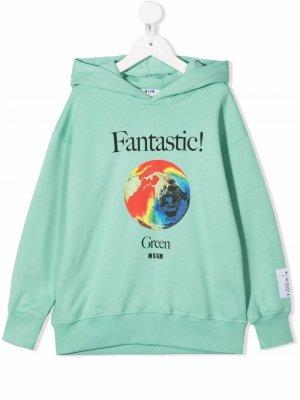 Earth-print cotton hoodie MSGM Kids. Цвет: зеленый