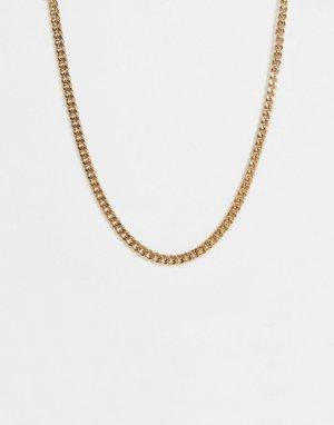 Золотистое ожерелье-цепочка с массивными звеньями и фактурной Т-образной застежкой -Золотистый WFTW