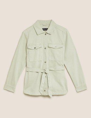 Джинсовая куртка в стиле милитари с поясом M&S Collection. Цвет: белый налив