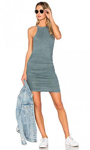 Платье с рюшами на бретельках Lanston. Цвет: синий
