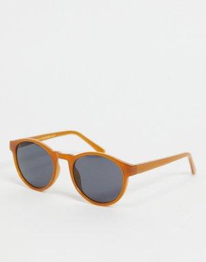 Темно-оранжевые круглые солнцезащитные очки в стиле унисекс Marvin-Оранжевый цвет A.Kjaerbede