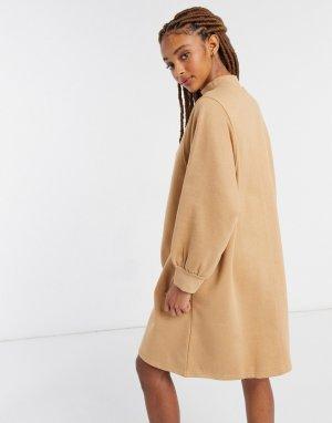 Бежевое платье-свитшот мини из органического хлопка Rey-Бежевый Monki