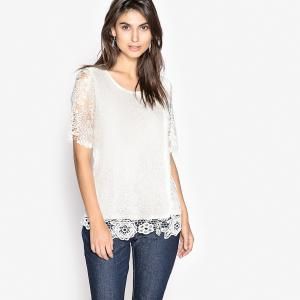 Пуловер из тонкого трикотажа и гипюра ANNE WEYBURN. Цвет: бледно-розовый,экрю