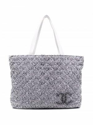 Двусторонняя пляжная сумка 2010-х годов с логотипом CC Chanel Pre-Owned. Цвет: белый
