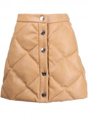 Стеганая мини-юбка Dice STAUD. Цвет: коричневый