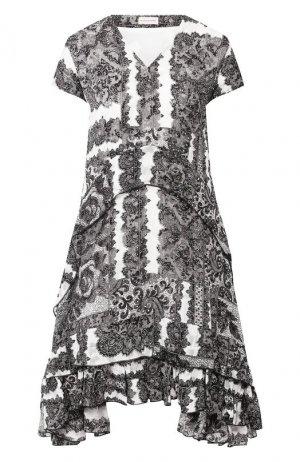 Платье из смеси вискозы и шелка By Malene Birger. Цвет: черно-белый