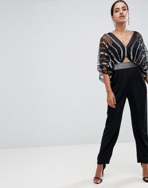 Комбинезон с рукавами-кимоно, широкими штанинами со складками и декоративной отделкой ASOS DESIGN