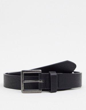 Черный ремень с пряжкой -Черный цвет Topman