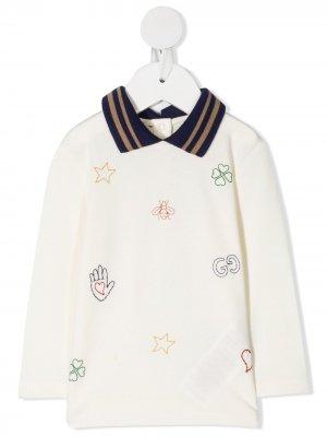 Рубашка поло с вышивкой Gucci Kids. Цвет: нейтральные цвета