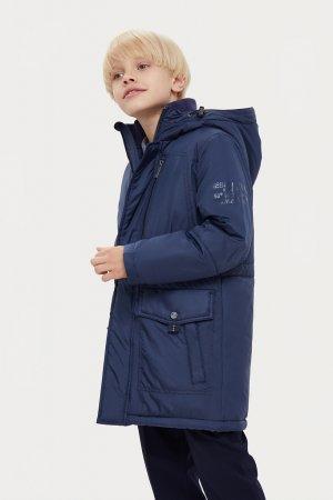 Пальто для мальчика Finn-Flare. Цвет: темно-синий