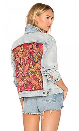 Стеганая джинсовая куртка с принтом пейсли Free People. Цвет: none