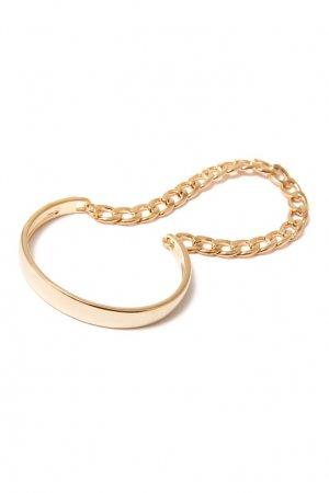 Золотистый браслет с цепью Aqua. Цвет: серебряный