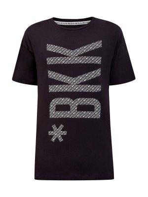 Хлопковая футболка с принтом в стиле леттеринг BIKKEMBERGS. Цвет: черный