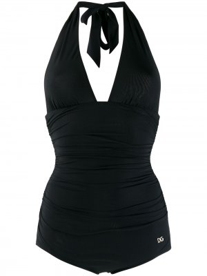 Купальник с вырезом халтер Dolce & Gabbana. Цвет: черный