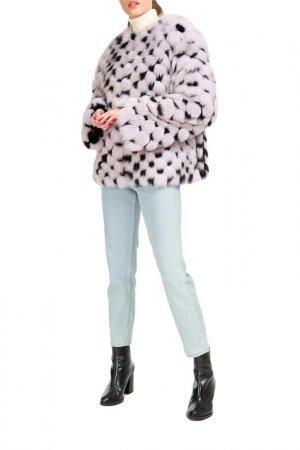 Short fur coat Manakas. Цвет: black, lilac