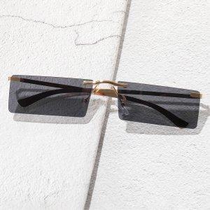 Мужские квадратные солнцезащитные очки без оправы SHEIN. Цвет: серый