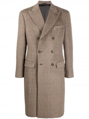 Двубортное пальто в клетку Giorgio Armani. Цвет: нейтральные цвета