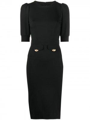 Puff sleeve jersey knit dress Versace Jeans Couture. Цвет: черный
