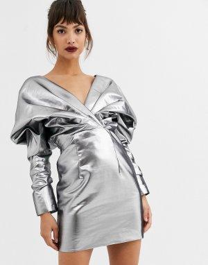 Коктейльное платье с эффектом металлик -Серебряный ASOS EDITION