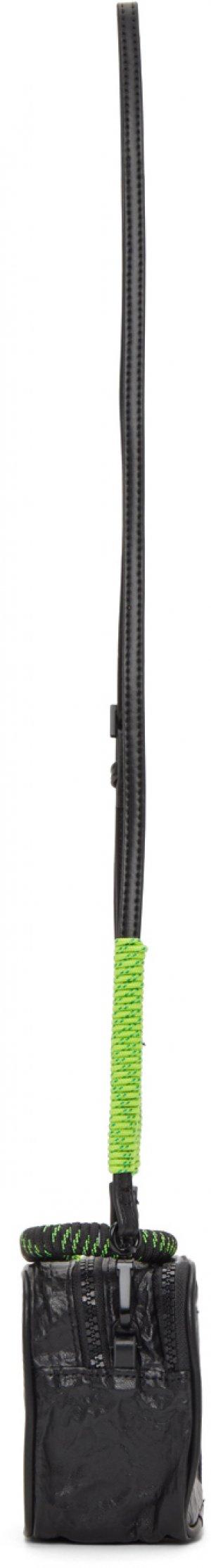 Black Mini Faux-Leather Bag Li-Ning. Цвет: black