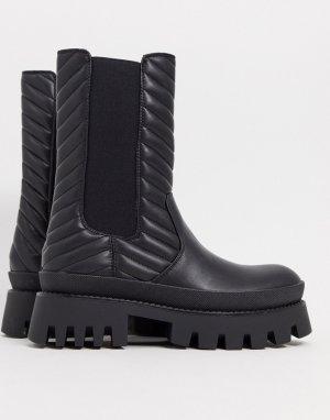 Черные ботинки на массивной подошве с эластичными вставками -Черный Bershka