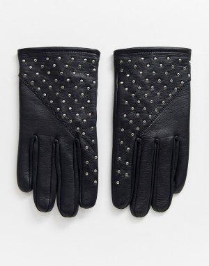 Кожаные перчатки с заклепками -Черный Bolongaro Trevor