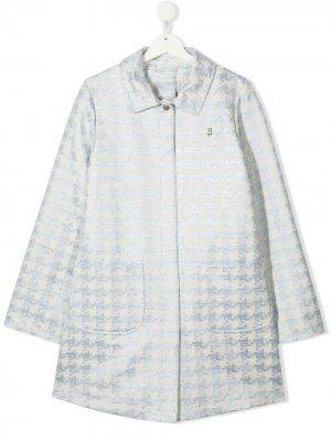 Пальто в ломаную клетку Herno Kids. Цвет: синий