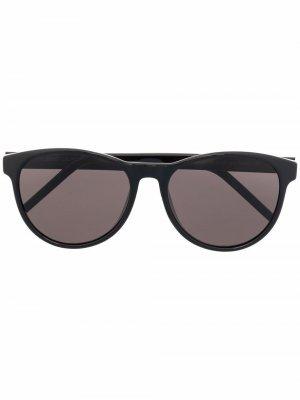 Солнцезащитные очки в круглой оправе Saint Laurent Eyewear. Цвет: черный