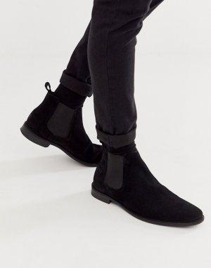 Черные замшевые ботинки челси с черной подошвой -Черный ASOS DESIGN