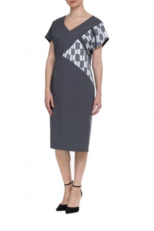 Платье Adzhedo. Цвет: серый, черно-белые вставки