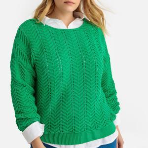 Пуловер с круглым вырезом из тонкого трикотажа 100% хлопок CASTALUNA. Цвет: зеленый