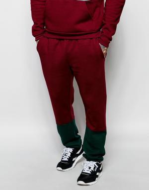 Спортивные штаны колор блок American Apparel. Цвет: красный