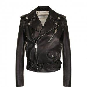Кожаная куртка с поясом и косой молнией Valentino. Цвет: чёрный