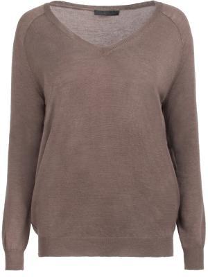 Шерстяной пуловер Les Copains. Цвет: коричневый