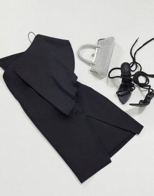 Черное облегающее платье на одно плечо -Черный цвет AQAQ