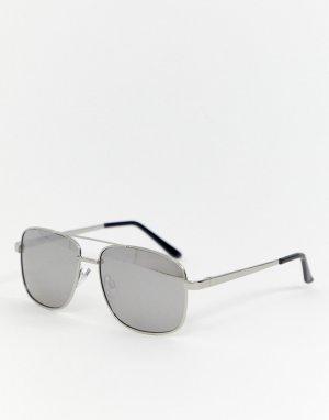 Солнцезащитные очки-авиаторы с зеркальными стеклами AJ Morgan. Цвет: серебряный