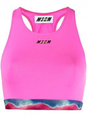 Спортивный бюстгальтер с принтом MSGM. Цвет: розовый