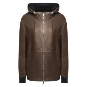Кожаная куртка Brunello Cucinelli. Цвет: коричневый