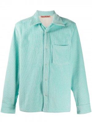 Вельветовая рубашка на пуговицах Acne Studios. Цвет: синий