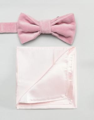 Розовый бархатный галстук-бабочка и атласный платок для пиджака Devils Advocate. Цвет: розовый