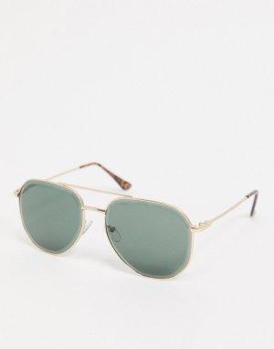 Солнцезащитные очки-авиаторы с темными стеклами -Золотой River Island