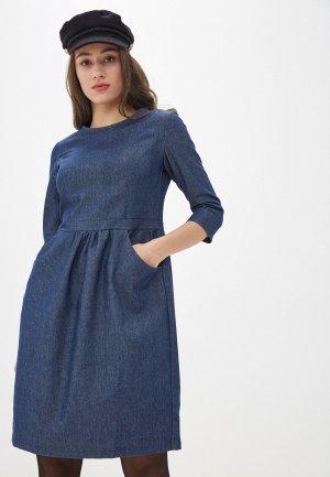 Платье джинсовое AM One. Цвет: синий