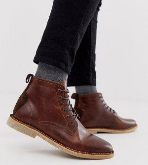 Светло-коричневые кожаные ботинки чукка для широкой стопы с замшевой отделкой -Светло-коричневый ASOS DESIGN