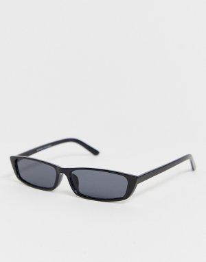 Черные солнцезащитные очки в тонкой оправе -Черный Bershka