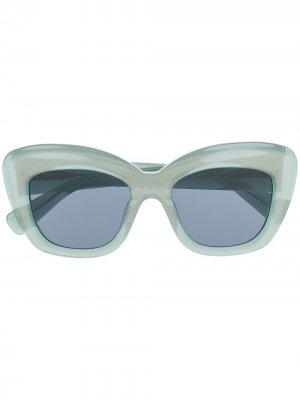 Солнцезащитные очки в квадратной оправе Brain Dead. Цвет: зеленый